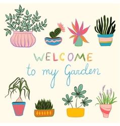 Colortul set of pot plants vector image