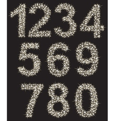 Sparkling number set made of shining stars from vector image vector image