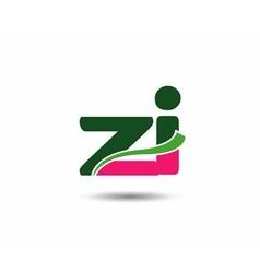 Alphabet Z and i letter logo vector image