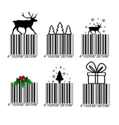 Black and white Christmas barcode vector image