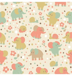 Elephant and snailseamless pattern vector