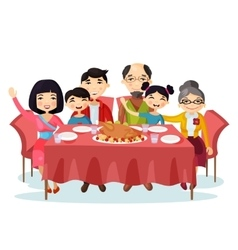 Holiday dinner with turkey of cartoon family vector image