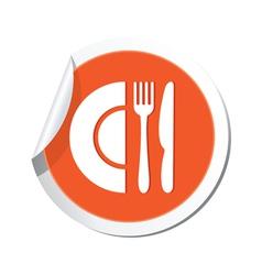 restaurant icon orange sticker vector image vector image