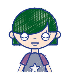 Tender girl child with pijama and hairstyle vector