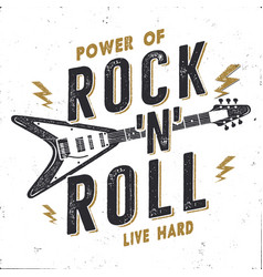 vintage hand drawn rock n roll poster rock music vector image
