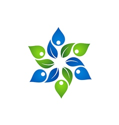 Abstract green leaf circle decoration logo vector