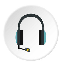 headphones with microphone icon circle vector image vector image