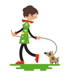 lady with dog isolated on white background flat vector image