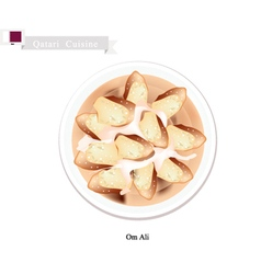 Om ali or puff pastry with nuts and whipped cream vector