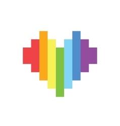 Pixel art style rainbow homosexual heart vector image vector image
