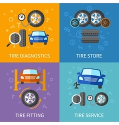 Tire service flat concepts set vector image vector image