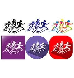 Triathlon icon in three designs vector image