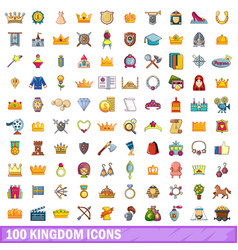 100 kingdom icons set cartoon style vector