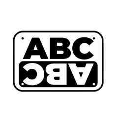 a b c logo in the form of a sign with a mirror vector image