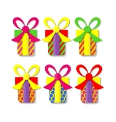 A set of colorful gift boxes vector