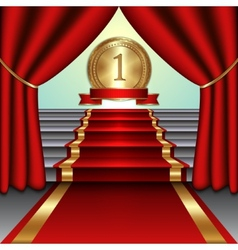 Abstract of curtains red carpet on staircase with vector