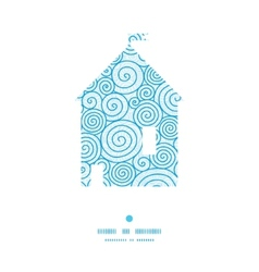 Abstract swirls house silhouette pattern frame vector