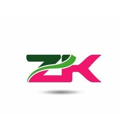 Alphabet Z and K letter logo vector image