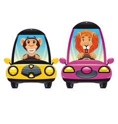 animals in car monkey and lion vector image