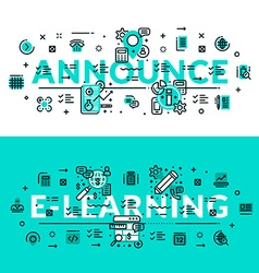 Announce and E-Learning heading title web banner vector
