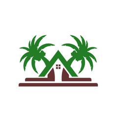 beach villa house logo design vector image