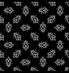 bees dark seamless pattern in outline style vector image