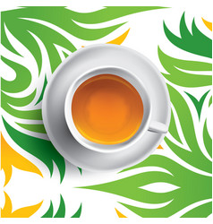 black tea cup tea on floral vector image