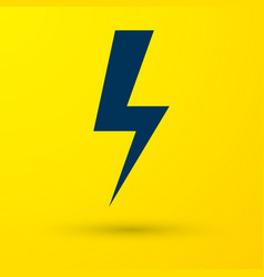 blue lightning bolt icon isolated on yellow vector image