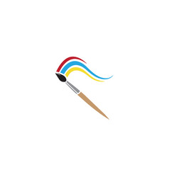Brush paint with colors logo design vector