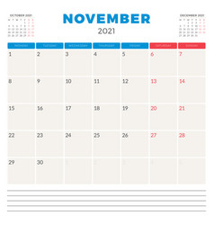 Calendar planner for november 2021 week starts on vector