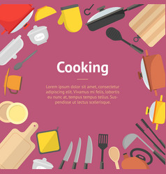Cartoon cookware banner card vector