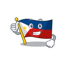 Cartoon flag philippines making thumbs up vector