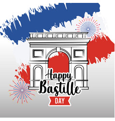 Champs elyses with france flag and fireworks vector