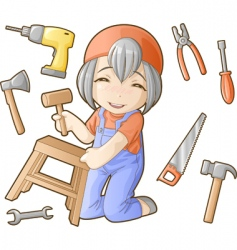 chibi professions sets repairer vector image