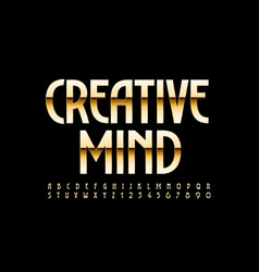 Chic sign creative mind gold elegant alphabet vector