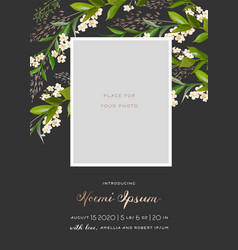 Child greeting card floral elements baby shower vector