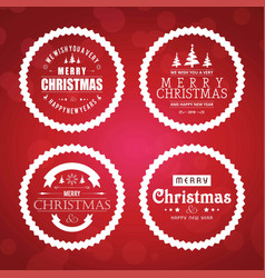 chirstmas card set with red background vector image