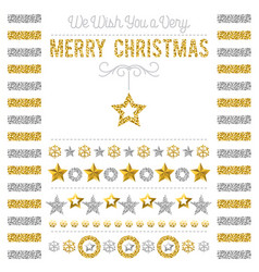 christmas card with golden and silver glittering vector image
