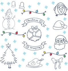 Christmas set doodle art vector