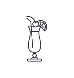 cocktail on the beach line icon concept cocktail vector image