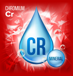 Cr chromium mineral blue drop icon vector