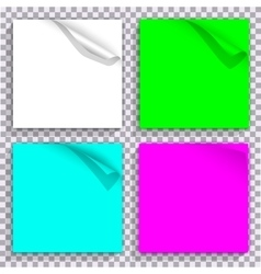 Curled corner on color set of paper blocks vector
