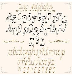 Cute calligraphical alphabet vector image