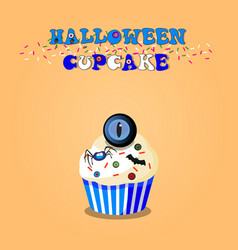 cute happy halloween cupcake with spider bat and vector image