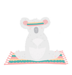 cute koala sitting on a mat and practicing yoga vector image