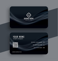 Dark business card with wavy lines design vector