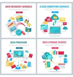 Data Services Banners Set vector image