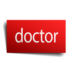 Doctor red square isolated paper sign on white vector