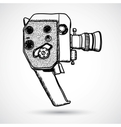 Doodle Vintage movie camera vector