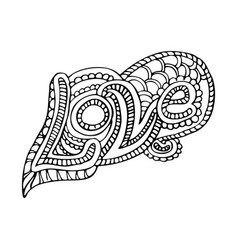 doodle word love with zentangle ornaments vector image